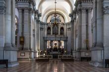 Interior Of San Giorgio Maggiore Church, Built In 16th Century And Designed By By Andrea Palladio, Venice, Italy