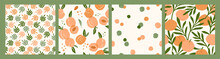 Abstract Collection Of Seamless Patterns With Apricots And Oranges.