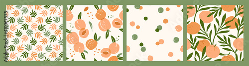 Fényképezés Abstract collection of seamless patterns with apricots and oranges