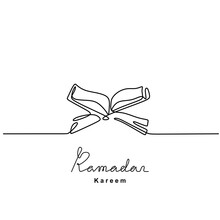 Continuous Line Drawing Of Open Book Quran On A Wooden Book Stand. Islamic Holy Day Ramadan Kareem And Eid Mubarak Concept Isolated On White Background. Hand Drawn Minimalism Style.