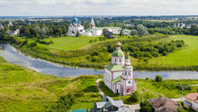 Suzdal, Russia. Flight. Church Of Elijah The Prophet On Ivanova Hill Or Church Of Elijah - A Temple In Suzdal In The Bend Of The Kamenka River, Aerial View