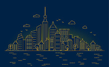 Thin Golden Lines. Night Big City. Panorama Architecture Buildings Outline. Urban Life Vector Illustration. City Center With Skyscrapers On The Water Background
