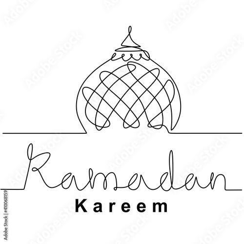 Stampa su Tela Mosque continuous line drawing vector minimalist design