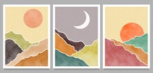 Abstract Mountain Landscape Background. Creative Minimalist Hand Painted Illustrations Of Mid Century Modern Art Print. Forest, Hill And Moon On Set