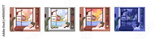 Obraz Set of window views with morning, afternoon, evening and night sceneries. City in different time of day from inside. Colored flat vector graphic illustration isolated on white background - fototapety do salonu