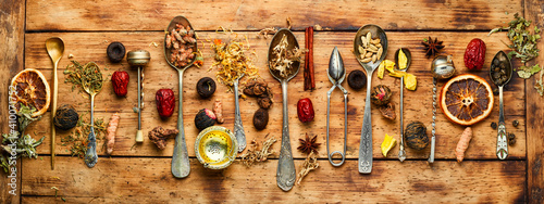 Assortment of dry teas and herbs © nikolaydonetsk