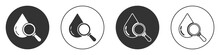 Black Drop And Magnifying Glass Icon Isolated On White Background. Circle Button. Vector Illustration.