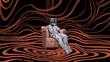 man sitting on armchair wearing virtual reality headset, digital art style, digital painting
