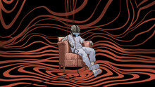 Man Sitting On Armchair Wearing Virtual Reality Headset, Digital Art Style, Digital Painting