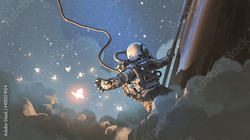 The astronaut reaching out to catch the glowing butterfly in the sky, digital art style, illustration painting