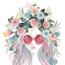 Vector Illustration Of A Girl Wearing Sunglasses And Decorating The Hair With Flowers. Design For Invitation Card, Picture Frame, Poster, Scrapbook