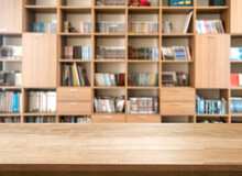 Blank Of Wood Top Table At Library