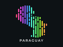 Digital Modern Colorful Rounded Lines Paraguay Map Logo Vector Illustration Design.