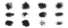 Vector Brush, Black Ink Brush, Grunge Stroke, Lines, Watercolor Brush. Dirty Artistic Design Elements  Isolated On White Background. Vector Illustration.