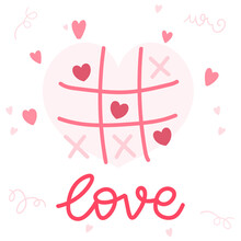 Heart Xo Tic-tac-toe Game Handwritten  With Love Handwritten Isolated On White Background. Vector Illustration EPS 10