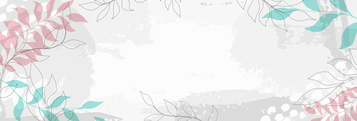 creative minimalist hand draw background with leaves and pastel simple stain and shape, brush strokes elements. design for greeting cards and invitations of the wedding, birthday, Valentine's Day.