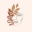 Abstract minimalistic linear sketch. Female face. Vector illustration hand draw with plant leaves. One line drawing face. Modern minimalism art. Abstract woman portrait minimalist style