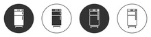 Black Refrigerator Icon Isolated On White Background. Fridge Freezer Refrigerator. Household Tech And Appliances. Circle Button. Vector.