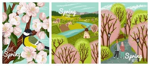 Fotografie, Obraz Spring time vector hand drawn posters