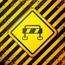 Black Road Barrier Icon Isolated On Yellow Background. Symbol Of Restricted Area Which Are In Under Construction Processes. Repair Works. Warning Sign. Vector.