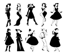 Collection Of Black Women Full Length Portraits Silhouettes In Different Poses Isolated On White Background. Lady Fashion Style With Dress, Trousers, Shoes, Hat, Bags. For Logo, Emblems, Advertisement