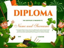 Education Kids School Diploma Vector Template For St Patricks Day Event With Leprechauns, Pot Of Gold, Bagpipes And Lucky Clover. Kindergarten Certificate With Golden Horseshoe, Cartoon Award Frame