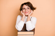 Photo Of Young Beautiful Lovely Pretty Sweet Dreamy Girl In Glasses Look Copyspace Isolated On Beige Color Background