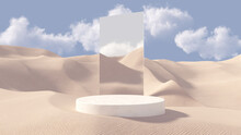 3D Stone Pedestal Premium Podium With Mirror Behind. Sand Dunes Background. Minimal Abstract Cosmetic Background For Product Presentation. Blank Showcase Mockup With Empty Round Stage. 3D Rendering.