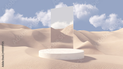 Obraz 3D stone pedestal premium podium with mirror behind. Sand dunes background. Minimal abstract cosmetic background for product presentation. Blank showcase mockup with empty round stage. 3D rendering. - fototapety do salonu