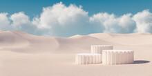 Premium Minimal Product Podium With Architecture Columns On Sand Dunes. 3d Rendering Cosmetic Podium Background.