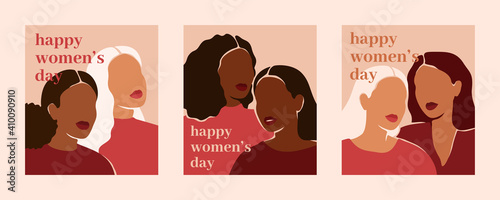 Fotografia Happy women's day vertical cards with women of different ethnicities and cultures