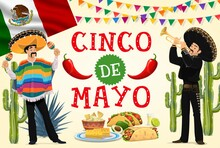 Cinco De Mayo Fiesta Mariachi And Mexican Food Vector Design. Cartoon Musicians With Sombrero Hats, Maracas And Trumpet, Mexico Flag, Cactuses And Red Chilli Peppers, Tequila, Taco, Burrito And Nachos
