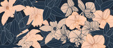 Luxury elegant orchids floral line arts pattern and black background. Topical flower wallpaper design, Fabric, surface design. Vector illustration.
