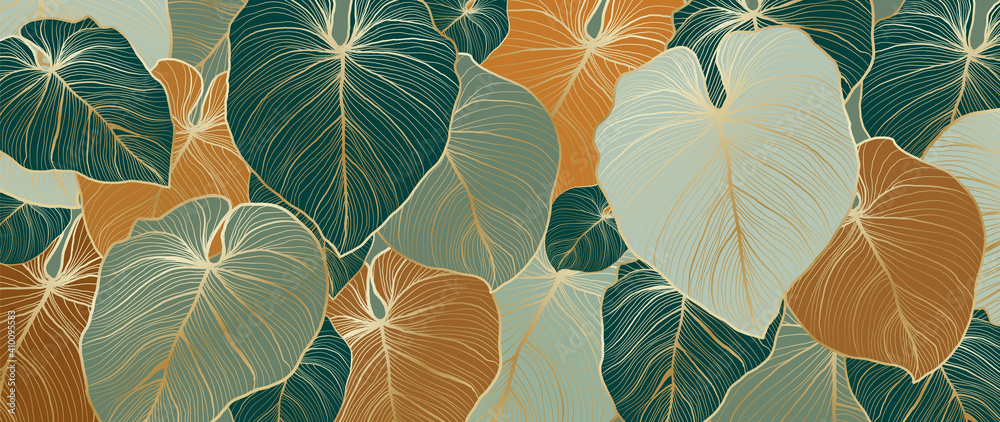 Fototapeta Luxury nature leaves background vector. Floral pattern, Tropical leaf with line arts, jungle plants, Exotic pattern with palm leaves. Vector illustration.