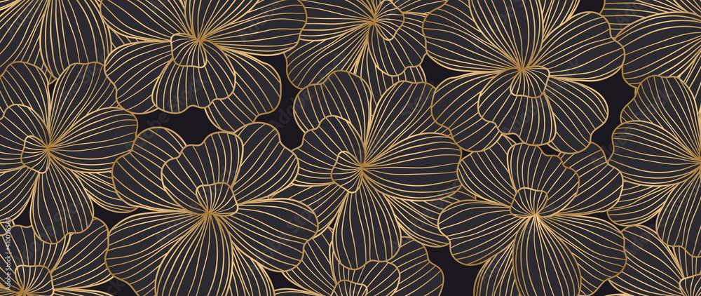 Fototapeta Luxury elegant gold orchids floral line arts pattern and black background. Topical flower wallpaper design, Fabric, surface design. Vector illustration.