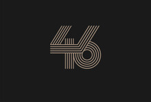 Number 46 Logo, Monogram Number 46 Logo Multi Line Style, Usable For Anniversary And Business Logos, Flat Design Logo Template, Vector Illustration