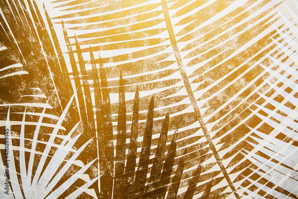 Fototapeta Gray and yellow. Tropical leaves on a divided abstract background.