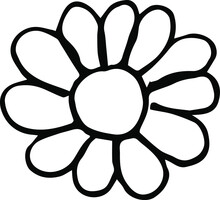 Vector Drawing Of A Flower. A Flower With A Round Center And Petals.