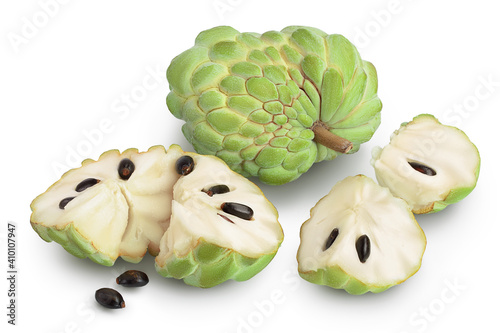 Canvas Print Sugar apple or custard apple isolated on white background with clipping path and full depth of field