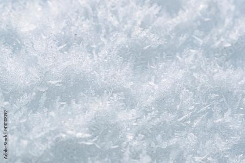 Fototapeta Close up sur des flocons de neige gelés - Arrière plan texturé neige glace