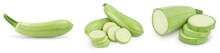 Zucchini Or Marrow Isolated On White Background With Clipping Path And Full Depth Of Field, Set Or Collection