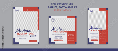 Obraz Real estate sale flyer banner social media post and stories perfect for business promotion   - fototapety do salonu