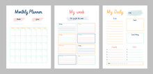 3 Set Of Minimalist Planners (Limited Edition) . Daily, Weekly, Monthly Planner Template. Cute And Simple Printable To Do List. Business Organizer Page. Paper Sheet. Realistic Vector Illustration.