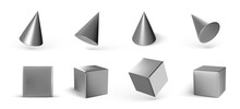 Set Of Metal Geometric Cones And Cubes Isolated On White Background. 3d Geometric Shapes Objects. Render Decorative Figure For Design. Vector Illustration