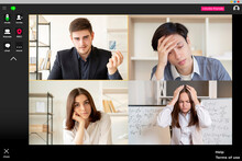 Virtual Conference. Remote Meeting. Business Webinar. Group Chat Wfh. Angry Male Executive Dissatisfied With Tired Stressed Out Disappointed Team Online Presentation At Digital Office On Screen.