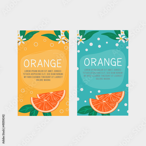 Set of vertical banner, label templates for orange fruit juice, aromatherapy or citric product with slice of grapefruit and blossom flowers and leaves Fototapet