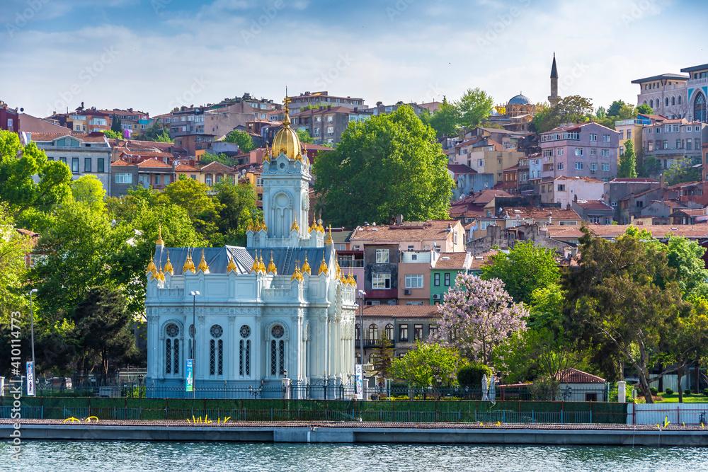 Fototapeta Balat District view from sea in Istanbul