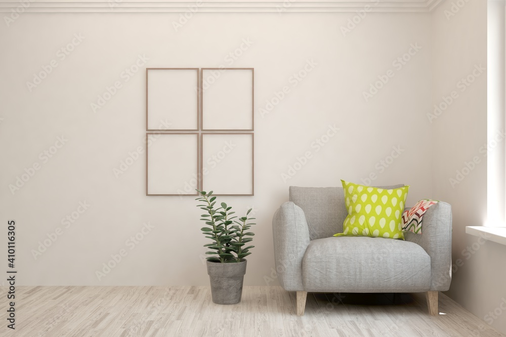 Fototapeta White living room with armchair. Scandinavian interior design. 3D illustration