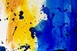 Watercolor colorful texture background. Hand-drawn watercolor abstract of blue-yellow color with black sharp strokes. Watercolor splashes