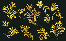 Classic Gold Decoration In Silhouettes Isolated In Black Background. Floral Ornate Forms. Gold Leaves. Vector Illustration
